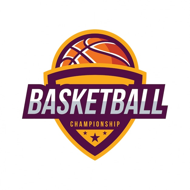 Basketbaltoernooi, american logo sport Premium Vector