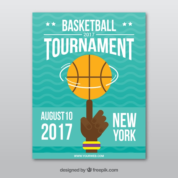 Basketbaltoernooi brochure in plat design Gratis Vector