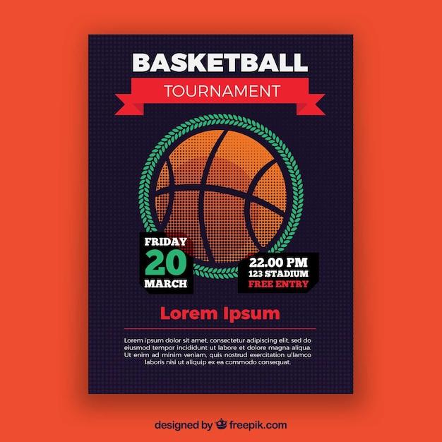 Basketbaltoernooi brochure Gratis Vector