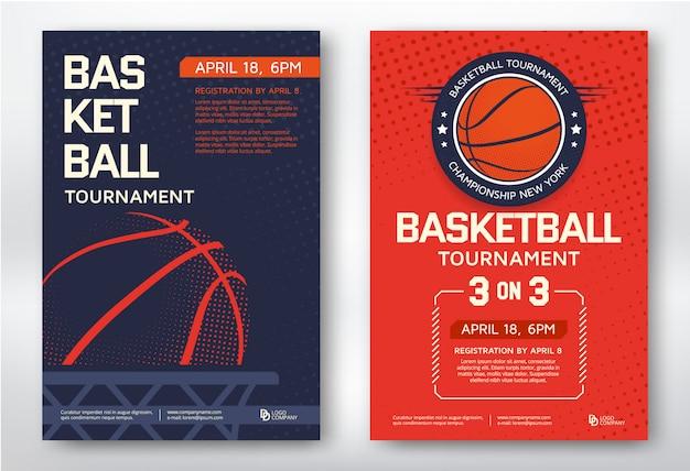 Basketbaltoernooi moderne sport posters sjabloon desig Premium Vector