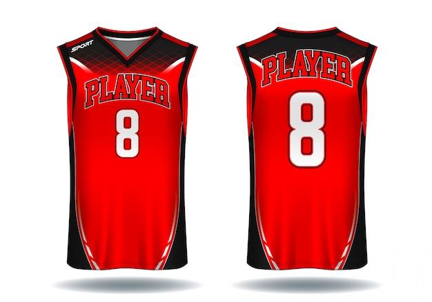 Basketbaltrui, de sportillustratie van de mouwloos onderhemd. Premium Vector