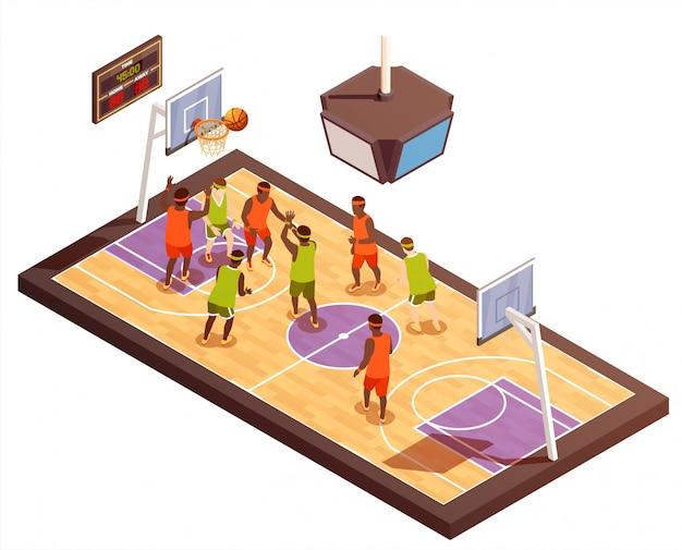 Basketbalveld isometrische samenstelling Gratis Vector