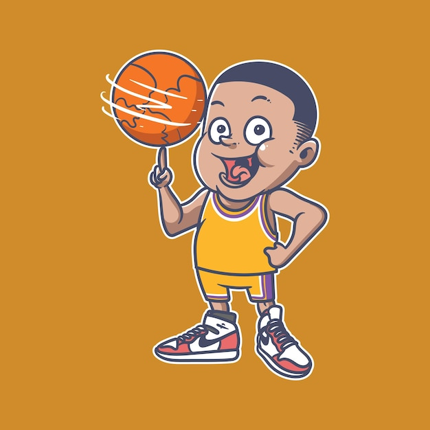 Basketboy illustratie Premium Vector