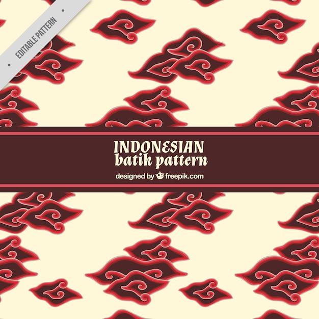 Batik patroon met decoratieve wolken Gratis Vector