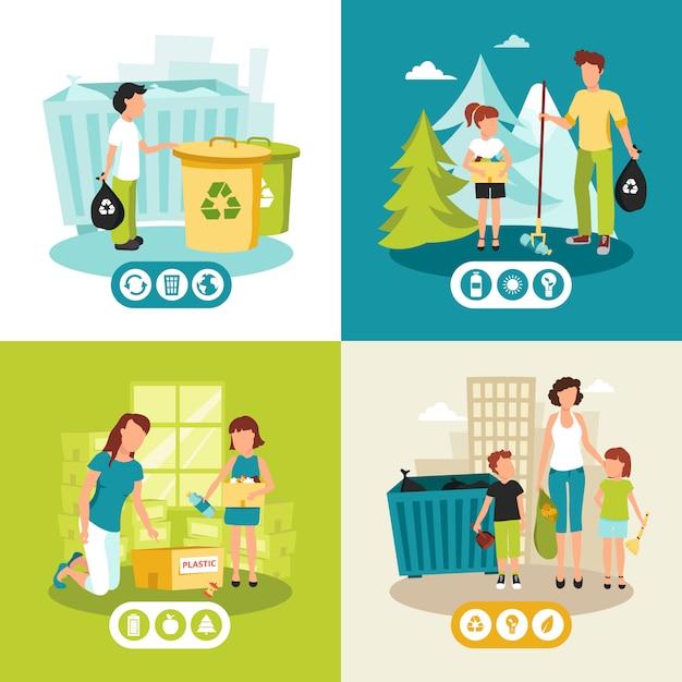 Batterijenplastiek en huisvuilinzameling voor het recycleren van vlak pictogrammenvierkant Gratis Vector