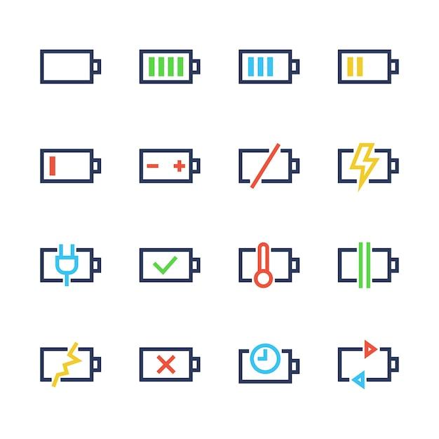 Batterijlijn pictogrammen Premium Vector