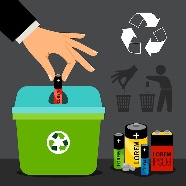 Batterijrecyclage man hand die een batterij in kringloopcontainer zet Premium Vector
