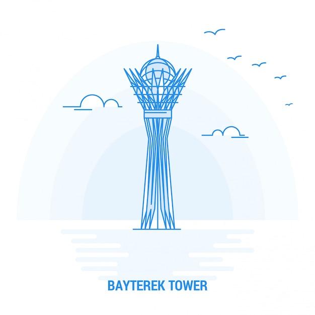 Bayterek-toren blauw monument Premium Vector