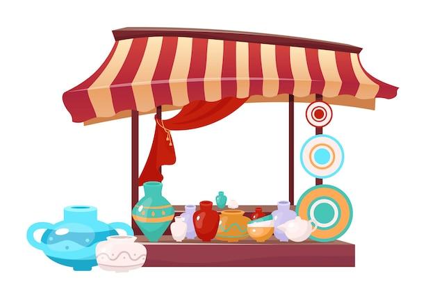 Bazaar luifel met handgemaakte keramiek cartoon. oost-marktplaats tent egale kleur object. buiten eerlijke luifel met handgemaakt aardewerk, aardewerk servies geïsoleerd op wit. Premium Vector