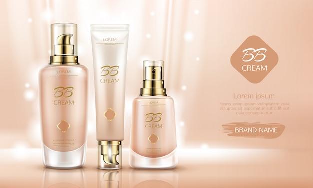 Bb cream beauty cosmetics flessen voor foundation op de huid. Gratis Vector
