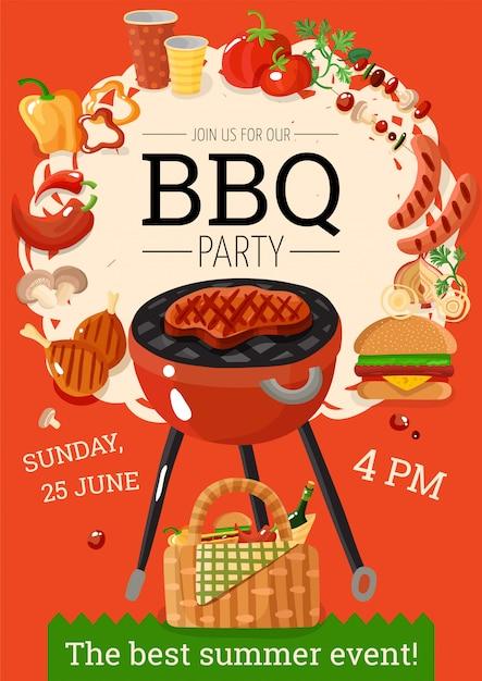 Bbq barbecue party aankondiging poster Gratis Vector