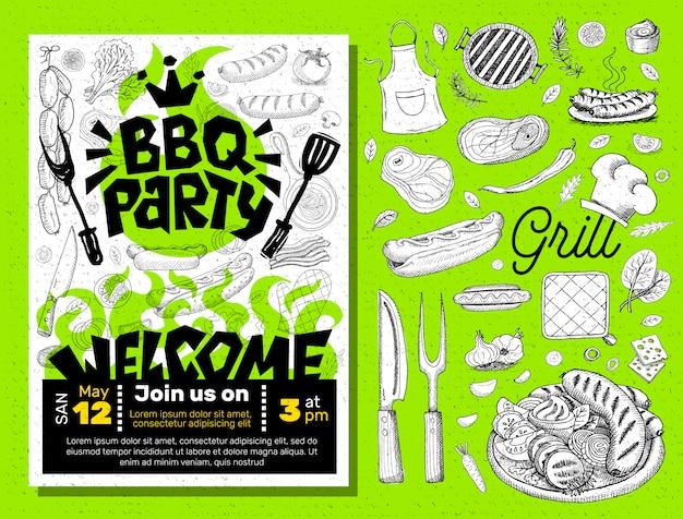 Bbq-feest eten poster. Premium Vector