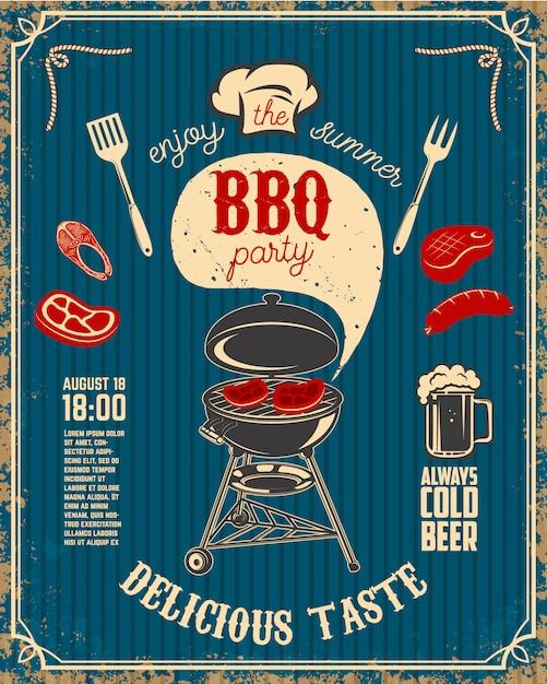 Bbq-partij vintage flyer op grunge achtergrond. grill met keukengerei, steaks, worst. Premium Vector