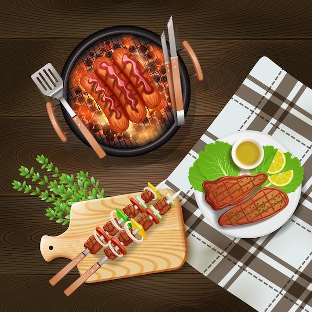 Bbq worsten kebab en lapjes vlees die op grill realistische illustratie worden gekookt Gratis Vector