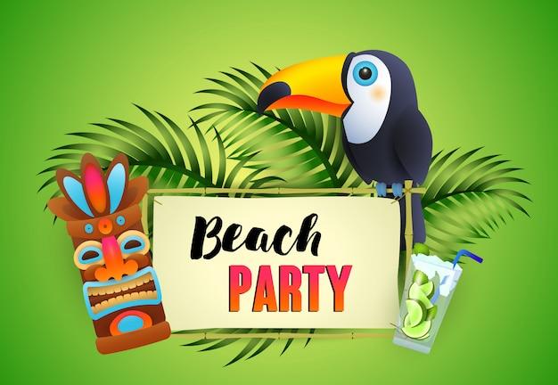 Beach party belettering, toekan, cocktail en tribal masker Gratis Vector