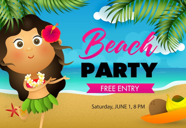 Beach party flyer ontwerp. hawaiiaans meisje dansen Gratis Vector