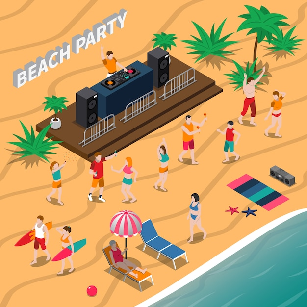 Beach party isometrische illustratie Gratis Vector