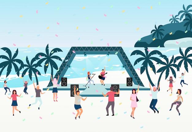 Beach party vlakke afbeelding. live-uitvoering in open lucht. Premium Vector