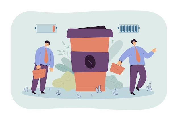 Beambte die aan cafeïneverslaving lijdt. cartoon afbeelding Gratis Vector