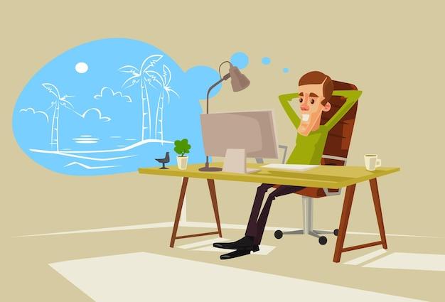 Beambte karakter droomt van vakantie. Premium Vector