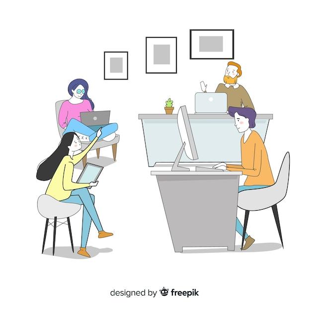 Beambten die bij hun bureaus zitten Gratis Vector