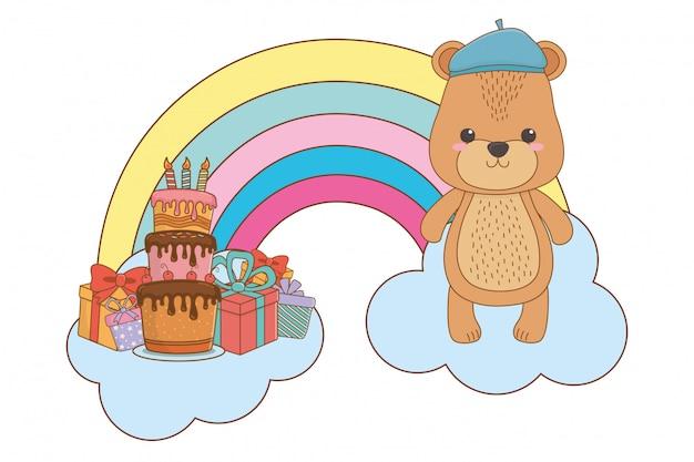 Bear cartoon met hoed Premium Vector