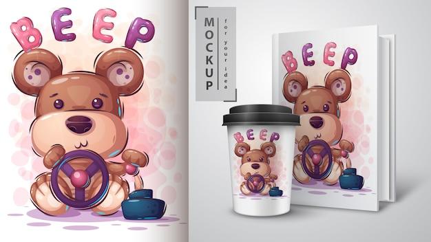 Bear driver poster en merchandising Premium Vector