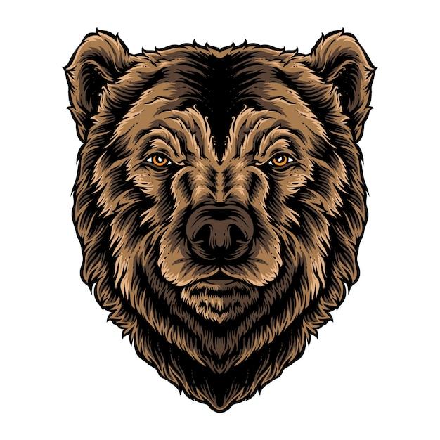 Bear hoofd vector logo Premium Vector