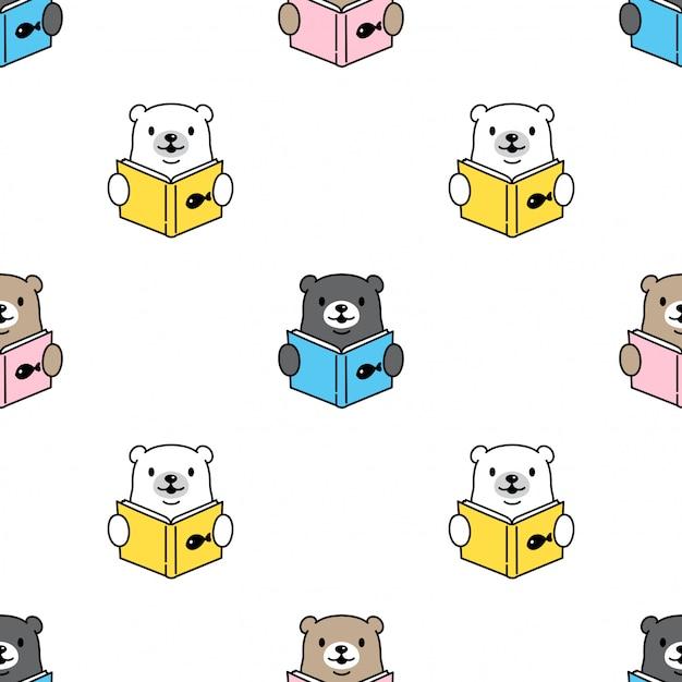 Bear polar naadloos patroon leesboek Premium Vector