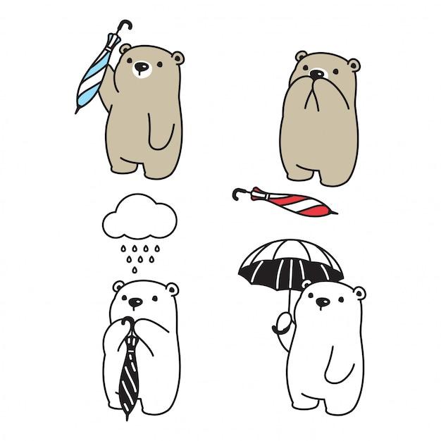 Bear polar regent paraplu karakter Premium Vector