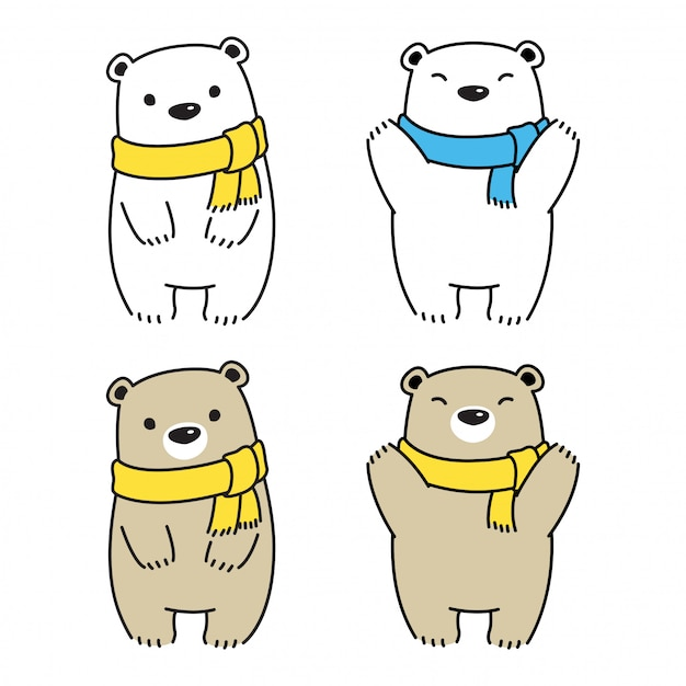 Bear polar sjaal cartoon afbeelding Premium Vector