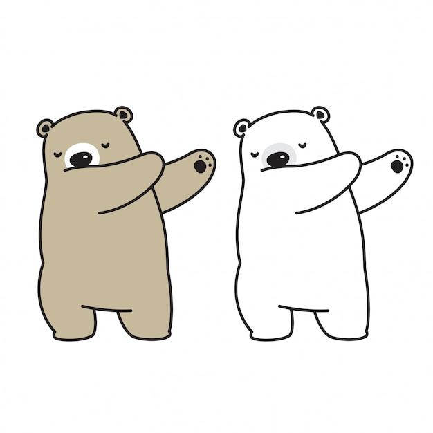 Bear vector polar bear dab dansende stripfiguur Premium Vector