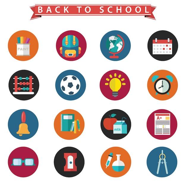 Beatiful terug naar school pictogrammen instellen Gratis Vector