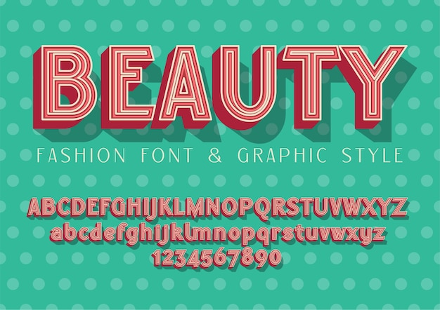 Beauty - mode en bruiloft lettertype, belettering illustratie met afbeeldingsstijl op stippen baground Premium Vector