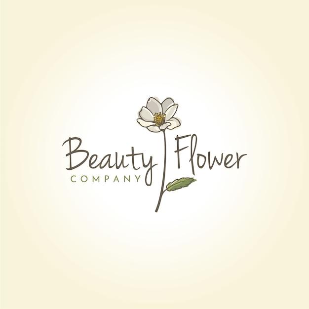 Beauty mountain aven flower logo-ontwerp Premium Vector