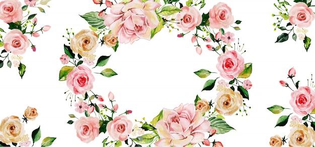 Beautyful waterverf bloemenachtergrond Premium Vector