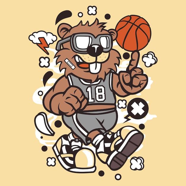 Beaver basketball player Premium Vector