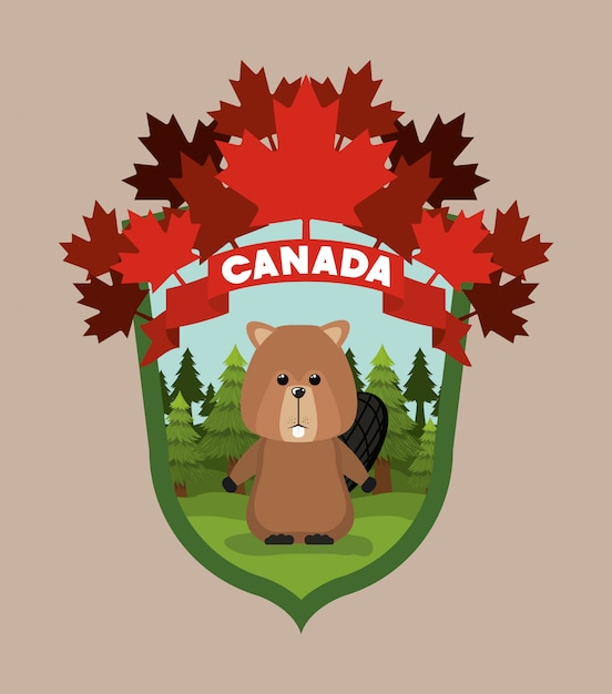 Beaver dieren- en dennenbomen Gratis Vector