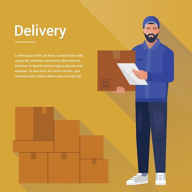 Bebaarde koerier man uit een vracht levering service sjabloon Premium Vector