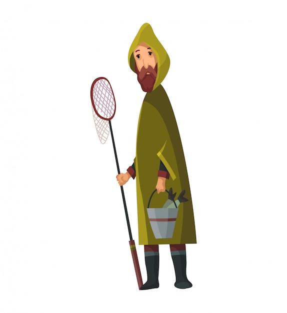 Bebaarde man met een visnet en een emmer in zijn handen. gevangen vis in een emmer. fisher in regenjas Premium Vector