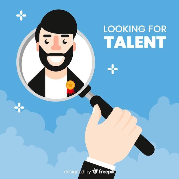 Bebaarde man op zoek talent achtergrond Gratis Vector