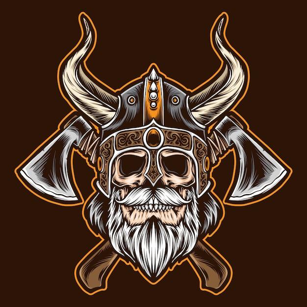 Bebaarde viking-schedel met bijl Premium Vector