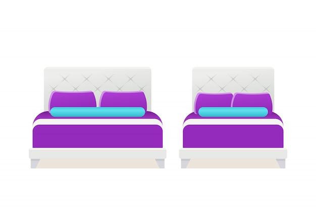 Bed pictogram vector Premium Vector