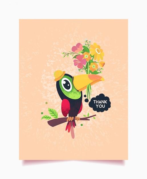 Bedankkaart floral thema met toucan bird Premium Vector