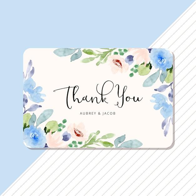 Bedankkaart met blauw perzik bloemen aquarel frame Premium Vector