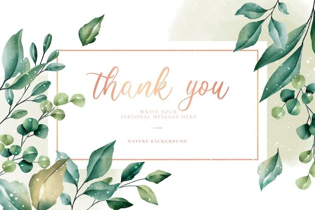 Bedankkaart met groene bladeren Gratis Vector