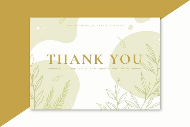 Bedankkaart met minimalistische bladeren Gratis Vector