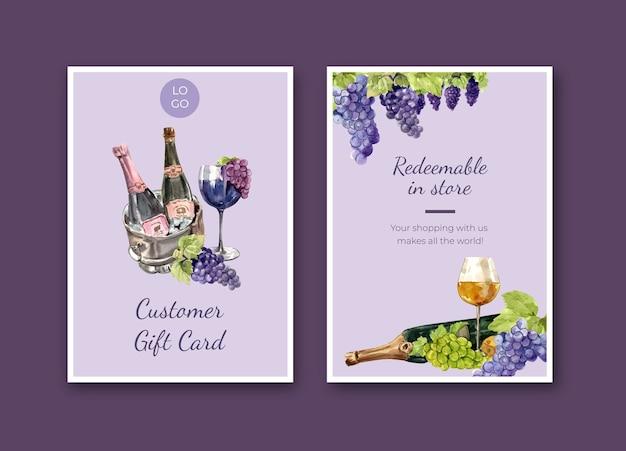 Bedankkaartsjabloon met wijnboerderij conceptontwerp voor groet en jubileum aquarel illustratie. Gratis Vector