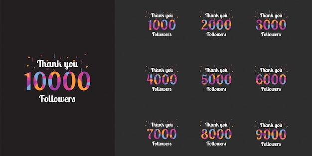 Bedankt 1000 tot 10000 volgers sjabloonontwerp Premium Vector