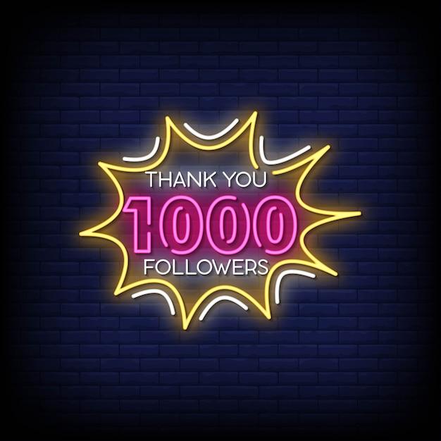 Bedankt 1000 volgers neon signs style text Premium Vector
